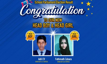 "New White House International School Conducted "" School Parliament Online Election "" Through the voting Procedures Adil CV selected as "" Head Boy "" of this Year won by 41votes Fathimath Zuhara Head Girl of this Year won by 45 Votes , "" Congratulations"" """